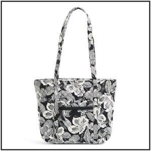 VERA BRADLEY SMALL VERA TOTE BEDFORD BLOOMS ~ Elegant Black & White Floral ~ NWT