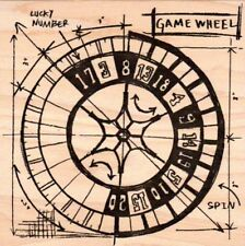 Tim Holtz Collection Game wheel sketch guide wood mounted Rubber stamp - New
