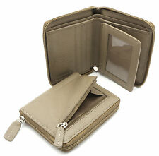 Bifold Taupe Genuine Leather Zip-Around Compact Wallet with Outer Zipper Pocket