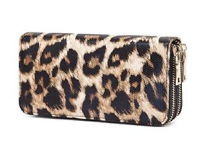 VISATER Leopard Wallets for Women Cheetah Animal Print Ladies Purse Long Zipper