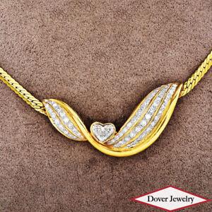 Estate 2.15ct Heart Diamond 18K Gold Lovely Heart Chain Necklace 18.8 Gr NR