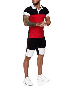 Mens Summer Outfit 2-Piece Set Short Sleeve T Shirts and Shorts Sweatsuit Set