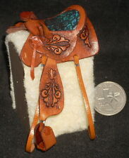 Dollhouse Miniature Prestige Fancy Brown Leather Horse Saddle Texas 1:12 #8590