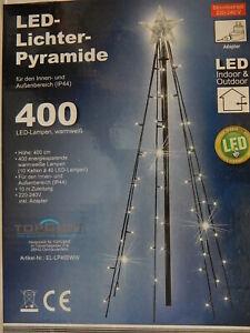 4 Meter Lichterpyramide 400 LED ww - Lichterkette Weihnachten Stern Beleuchtung