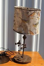 """METAL BIRD TABLE LAMP with BURLAP SHADE, 29"""" RUSTIC COTTAGE FARMHOUSE COUNTRY"""