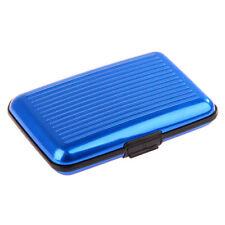 Blue Waterproof Credit Business ID Card Wallet Holder Metal Driving License Case