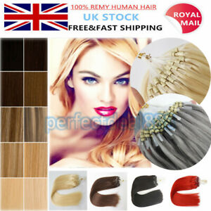 """7A 16""""-20"""" Micro Loop Ring Hair Extensions Russian Remy Human Double Drawn 1g UK"""