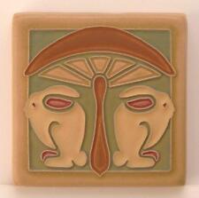 4x4 Arts & Crafts Bunnies Under Mushroom Tile Celery by Arts & Craftsman