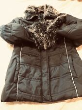 Unbranded Faux-Fur Hooded Glossy Down Puffer Jacket Coat Women's Black X Small
