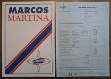 Marcos MARTINA orig 1992 UK Mkt opuscolo di vendita + listino prezzi/modulo d'ordine