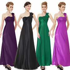 Satin Patternless Long One Shoulder Dresses for Women