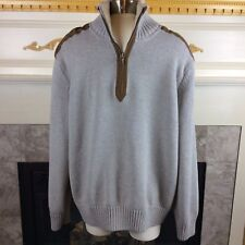 TOMMY HILFIGER Mens XL/TG Gray Half Zip Patch Sherpa Collar Pullover Sweater