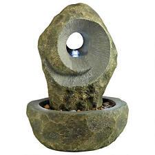 Artistic Spirals Indoor Outdoor Desk Top Water Fountain w/ Pump & LED Light Kit