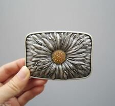 Silver Plated Rhinestones Blooming Daisy Metal Fashion Belt Buckle