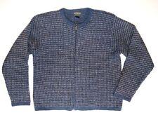 Woolrich M Blue/Gray with Tan Birdseye Pattern Zip Front Wool Cardigan Sweater