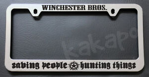 Winchester Bros Saving People Hunting Things Supernatural  Chrome Plate Frame