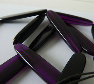 Vintage Jewellery Purple And Black Lucite Long Modernist Panel Bead Necklace