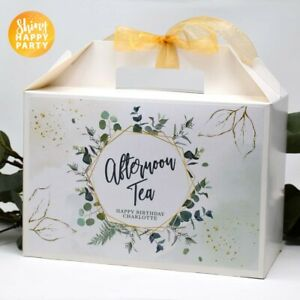 PERSONALISED Large Green Eucalyptus Gold Afternoon Tea Birthday White Box