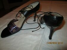 Vtg.Authentic- Chanel Irridescent Blk. Sandal Shoes 38 Eu (8 U.S.) Made In Italy