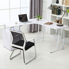 Modern L-Shape Corner PC Computer Desk Home Office PC Table with 3 Drawers White