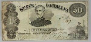 1863 $50 State of Louisiana Note PMG VF 25