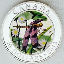 Canada 2013 $10 Dragonfly Twelve-Spotted Skimmer 1/2 oz Pure Silver HOLOGRAM