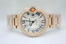NEW CARTIER BALLON BLEU 18k ROSE GOLD 33MM DIAMOND ENCRUSTED WATCH REF:W6920068