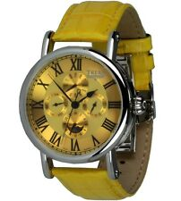 Trias Orologi GIALLO Earnshaw visualizzazione calendario orologio uomo in pelle Uhrband