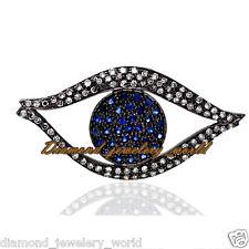 Studded Silver Evil Eye Pendant Jewelry Vintage 2.06ct Rose Cut Diamond Sapphire