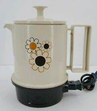 Regal Poly Hot Pot Electric Kettle WORKS Flower Power 5 Cup Retro 1970s Kitchen
