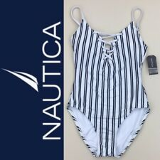 NWT Nautica White & Navy Blue Striped Lace Up Front One Piece Swimsuit Size L