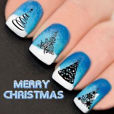 Uñas Wraps Nail Art transferencias de agua calcomanías Navidad Encaje árboles yd763