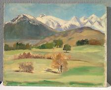 Tableau peinture huile paysage de montagne les Alpes savoie 1940-60