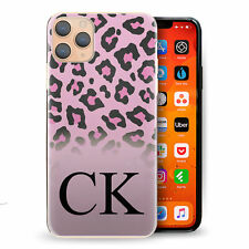Personalised Initial Phone Case, Pink Leopard Spot Hard Cover with Name
