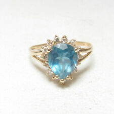 Estate 14K Yellow Gold 3.00 Ct Natural London Blue Topaz And Diamond Halo Ring