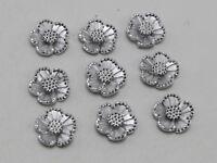 200 Silver Flatback Acrylic Dotted Rhinestone Flower Cabochons 11mm
