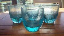 Heavy Blue Aqua whiskey glasses Old Fashion Glasses juice glasses pebbled 4 11oz