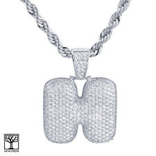 """H Initial Silver Plated Custom Bubble Letter Iced CZ Pendant 24"""" Chain Necklace"""