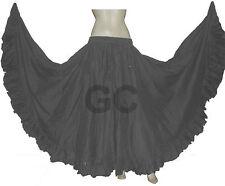 Grey Cotton Gypsy Flamenco Skirt 12 Yard Belly Dance Tribal Costume Jupe Boho