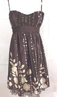 Speechless Party Dress Juniors 5 Spaghetti Straps Brown with Floral Design