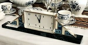 CARTIER by Jaeger-LeCoultre MANTEL CLOCK .935 Sterling Enameled MARBLE Base 1928