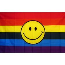 New listing Rainbow Happy Face flag Banner Sign 3' x 5 Foot Polyester Grommets