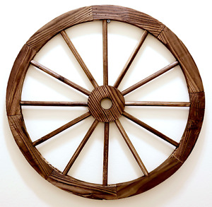 "WOOD WAGON WHEEL 24"" Rustic Western Style Home / Garden Décor"