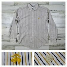 Brooks Brothers Men's Medium Blue White Striped Long Sleeve Oxford Sport Shirt