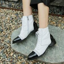 Gothic Women 3.5cm Block Heel Round Toe Cowboy Leather Lace Up Biker Ankle Boots