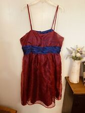 Womans 14 16 Dress Red & Blue Prom Homecoming Formal Short Handmade Euc