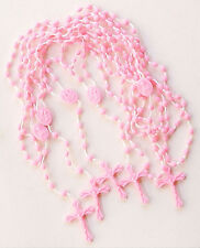 (5) Economic Nylon Cord Plastic Pink Beads ROSARIES with Pouch