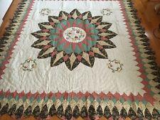 "NEW Handmade Blooming  Dahlia Pattern Quilt  101"" x 90"""