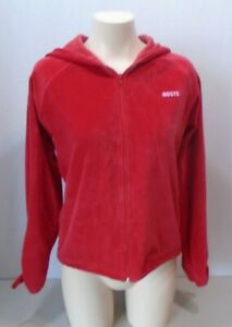 Roots Swim Canada Red Velour Hooded Full Zip Long Ruched Sleeves Jacket Size L