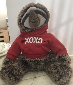 "Sloth with Red XOXO Hoodie 17"" Plush Stuffed Animal Dan Dee Collectors Club"